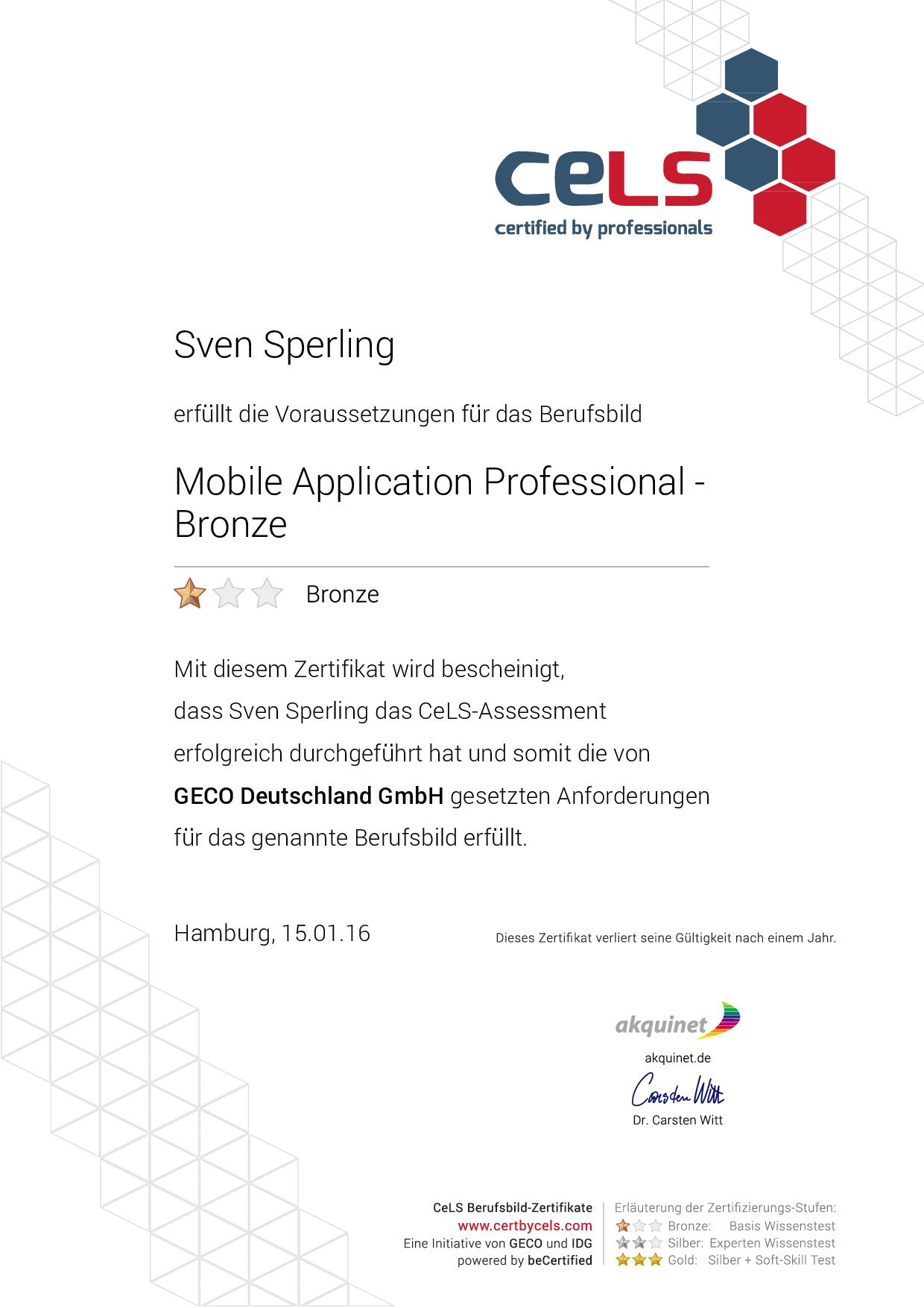 CELS – Mobile Application Professional Bronze Zertifikat