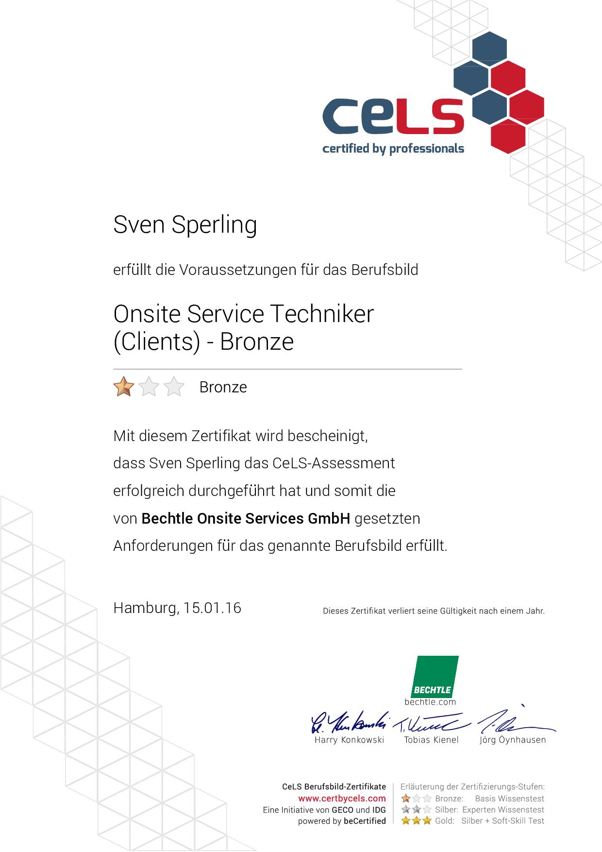 CELS – Onsite Service Techniker (Clients) Bronze Zertifikat