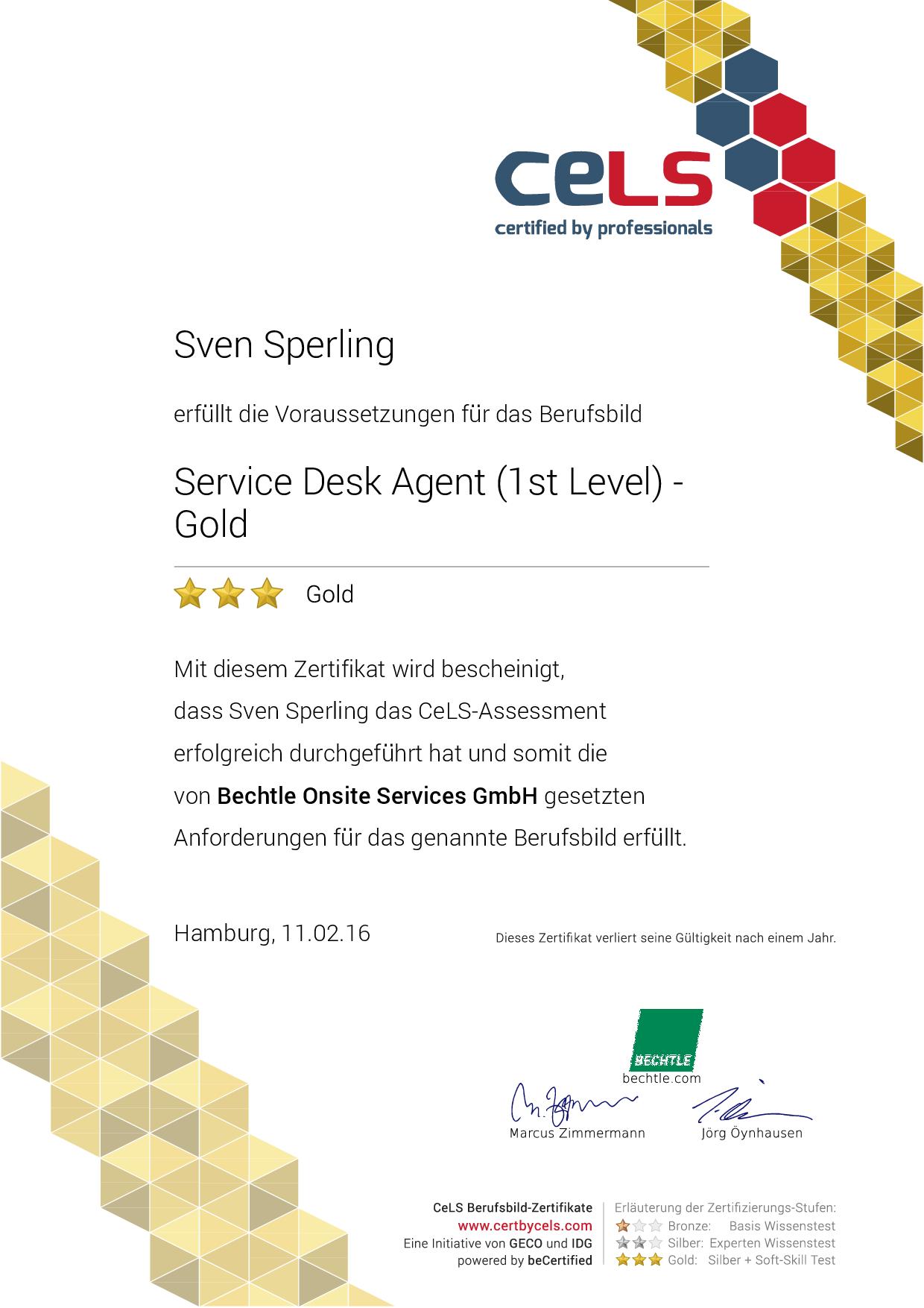 CELS – Service Desk Agent (1st Level) Gold Zertifikat