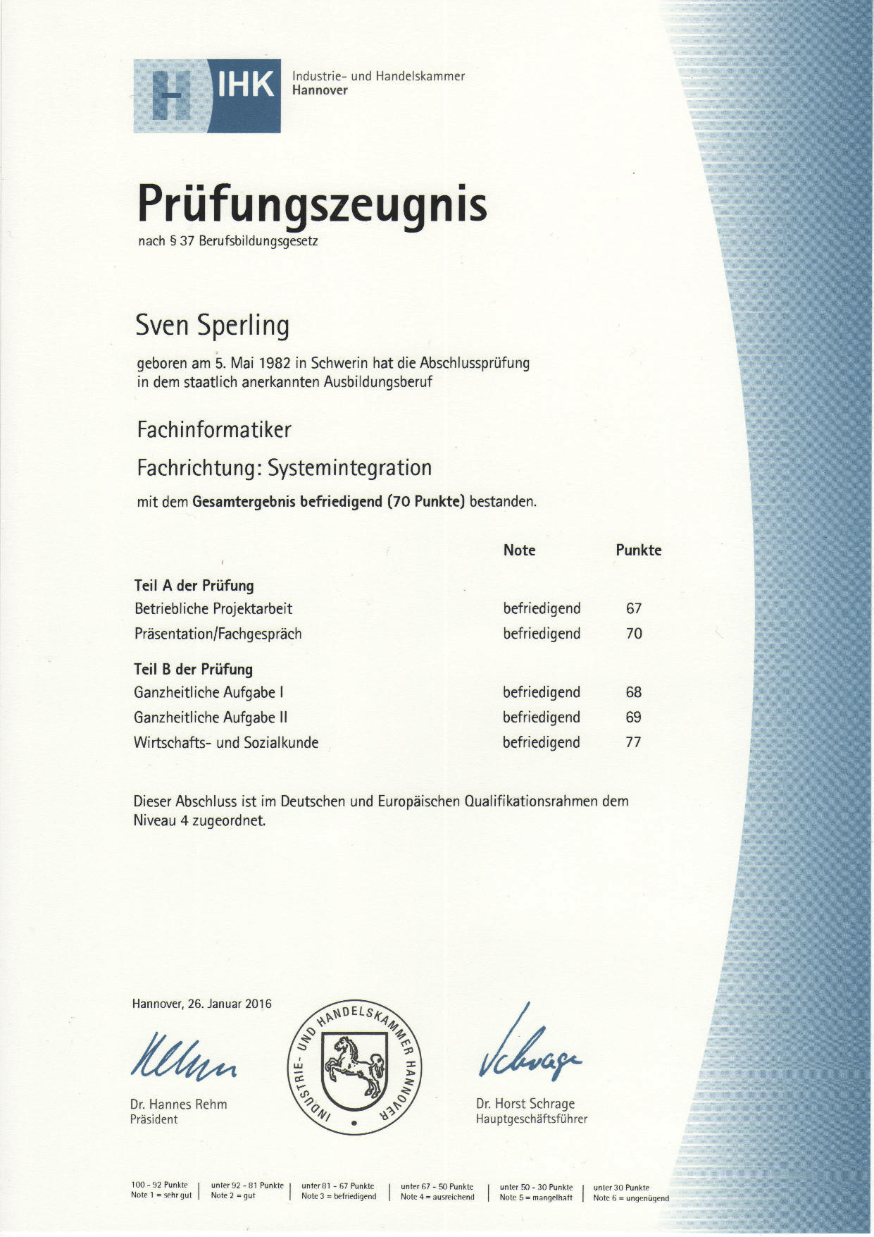 IHK Hannover – Prüfungszeugnis – Fachinformatiker Systemintegration