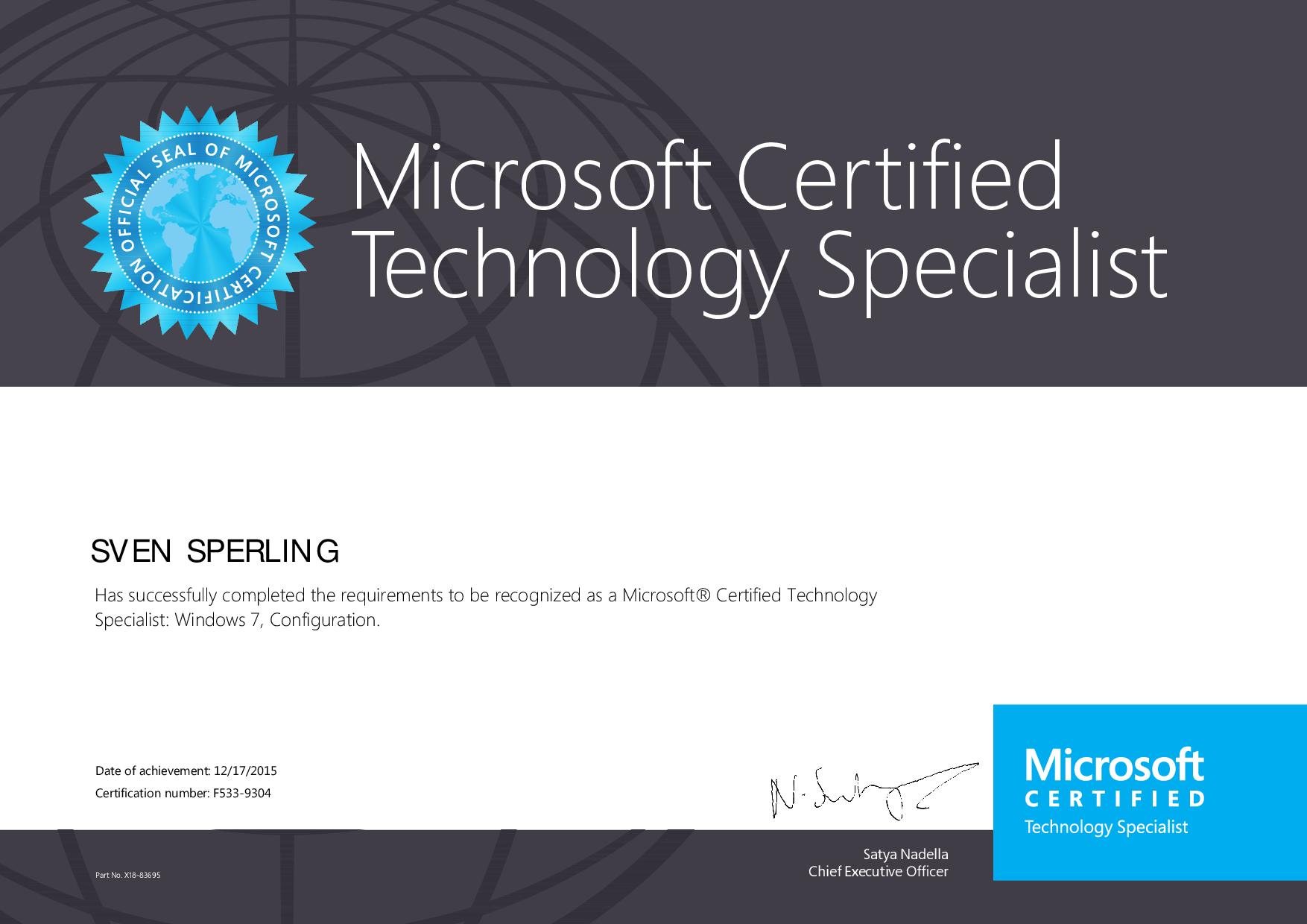 MCTS Windows 7 Zertifikat
