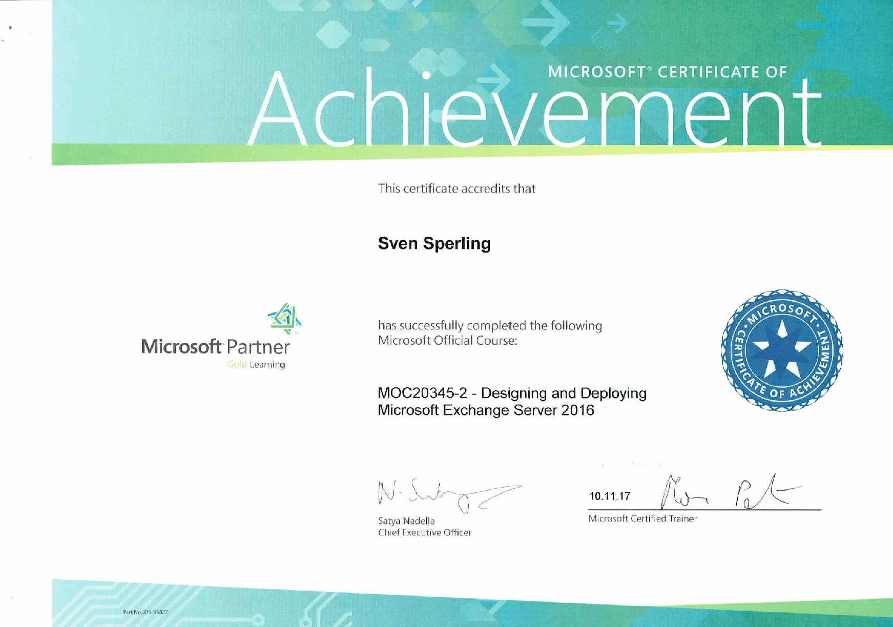MOC20345-2 – Designing and Deploying Microsoft Exchange Server 2016