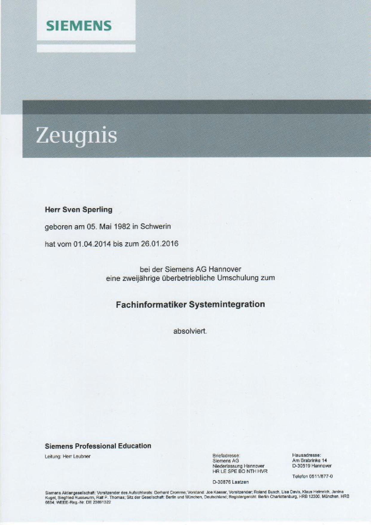 Siemens Hannover – Zeugnis – Fachinformatiker Systemintegration