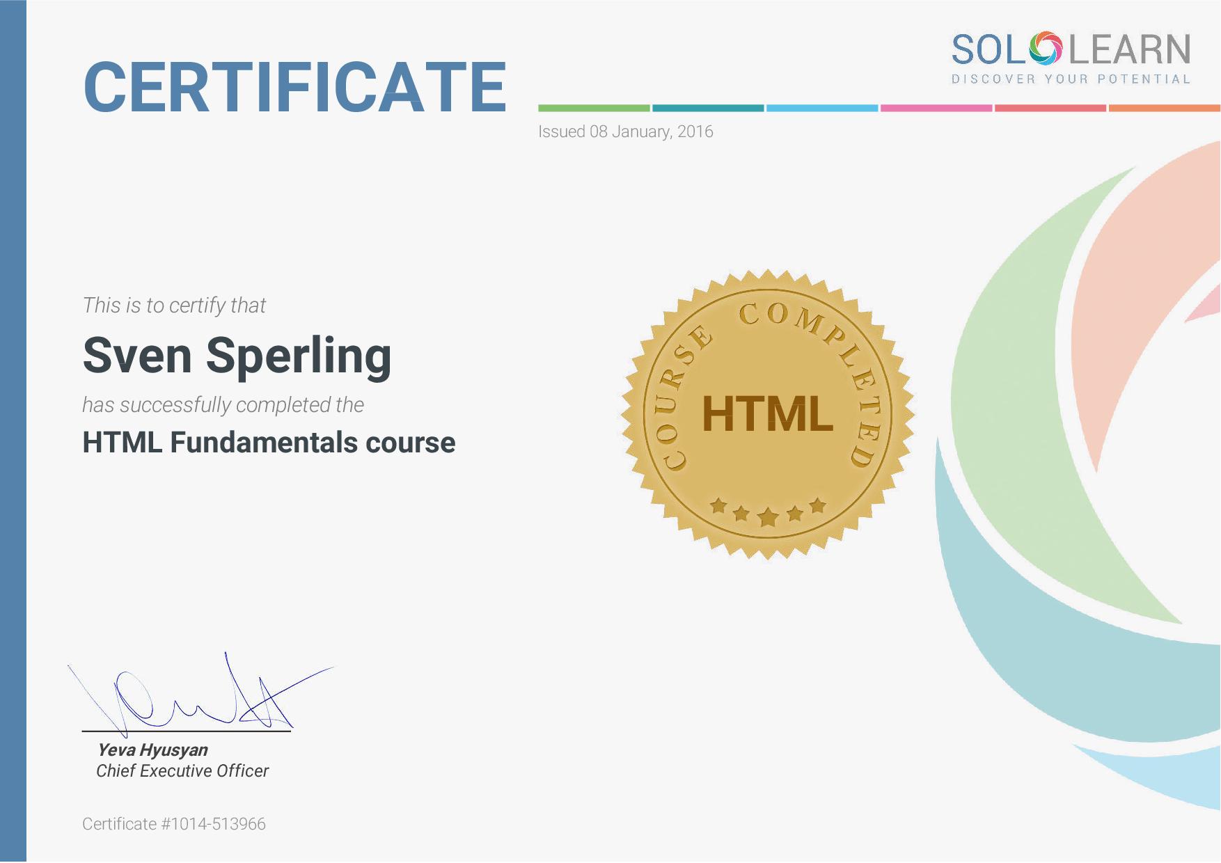 Sololearn HTML Zertifikat