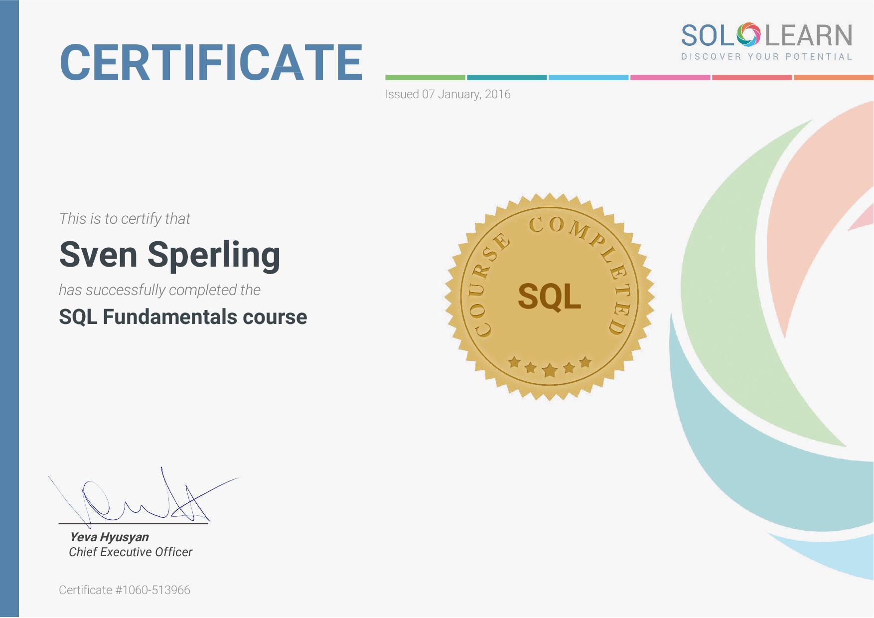 Sololearn SQL Zertifikat